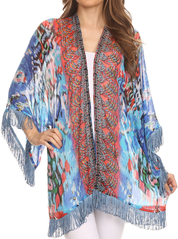 Sakkas Kimono Finley Sheer Kimono Top Cardigan Jacket With With Fringe And Design Print