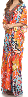 group-Sunset Orange / Multi (Sakkas Georgettina Flowy Rhinestone V Neck Long Caftan Dress/Cover Up)