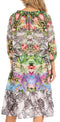 Sakkas Laura Women's 3/4 Sleeve Swing Floral Boho Midi Dress Cover-up Side Pockets#color_NM404-Multi