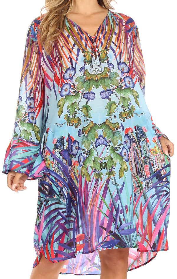 Sakkas Ximena Women's Floral Boho Cocktail Dress Tunic Cover-up V neck Summer#color_NM380-Multi