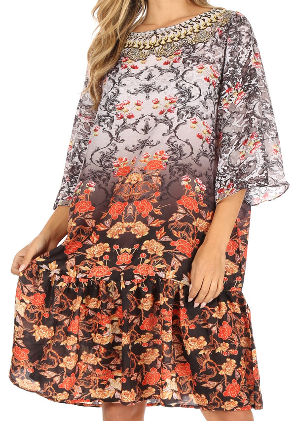 Sakkas Dona Women's Casual Swing 3/4 Sleeve Floral Print Boho Cocktail Midi Dress#color_ORM405-Multi