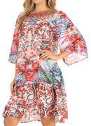 Sakkas Dona Women's Casual Swing 3/4 Sleeve Floral Print Boho Cocktail Midi Dress