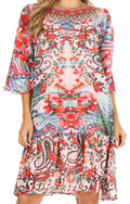 Sakkas Dona Women's Casual Swing 3/4 Sleeve Floral Print Boho Cocktail Midi Dress#color_UM407-Multi