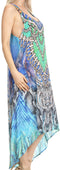 Sakkas Aramis Printed Long Draped Accent O Ring Crisscross Strappy Maxi Dress