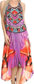 Sakkas Aramis Printed Long Draped Accent O Ring Crisscross Strappy Maxi Dress #color_17002-Purple