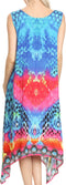 Sakkas Seneca Long Scoop Neck Printed Lightweight Beach Embellished Dress Coverup#color_17004-Turq / Fuschia