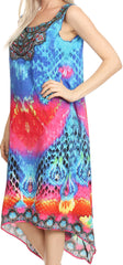 Sakkas Seneca Long Scoop Neck Printed Lightweight Beach Embellished Dress Coverup