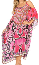 Sakkas Amaya Loose Fit Long Printed Strappy Cutout Shoulder Boat Neck Kaftan Dress