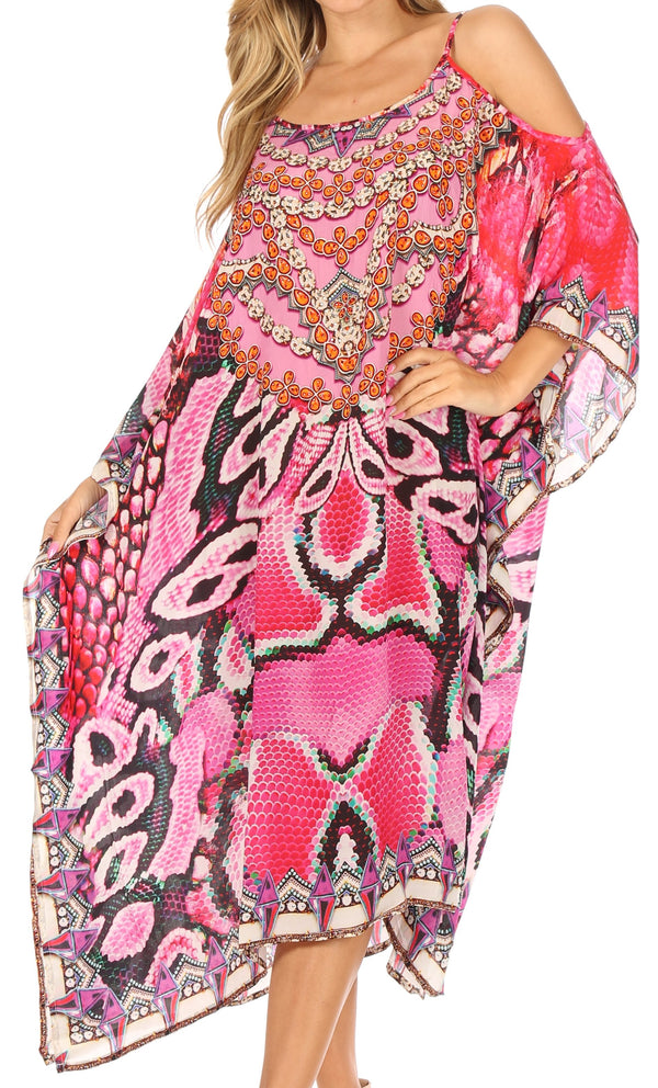 Sakkas Amaya Loose Fit Long Printed Strappy Cutout Shoulder Boat Neck Kaftan Dress#color_17013-Purple / Fuschia