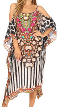 Sakkas Amaya Loose Fit Long Printed Strappy Cutout Shoulder Boat Neck Kaftan Dress#color_17015-Black / White