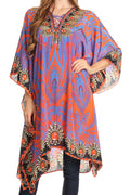 Sakkas Kristy Long Tall Lightweight Caftan Dress / Cover Up With V-Neck Jewels#color_17114-PurpleOrange