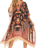 Sakkas Kristy Long Tall Lightweight Caftan Dress / Cover Up With V-Neck Jewels#color_17121-BlackWhite