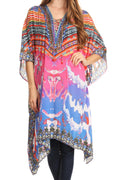 Sakkas Kristy Long Tall Lightweight Caftan Dress / Cover Up With V-Neck Jewels#color_17122-PinkOrange