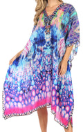 Sakkas Kristy Long Tall Lightweight Caftan Dress / Cover Up With V-Neck Jewels#color_17128-TurqPink