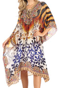 Sakkas Kristy Long Tall Lightweight Caftan Dress / Cover Up With V-Neck Jewels#color_17134-BlackBrown