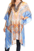 Sakkas Kristy Long Tall Lightweight Caftan Dress / Cover Up With V-Neck Jewels#color_17136-BlueOrangeNavy