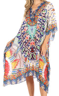 Sakkas Kristy Long Tall Lightweight Caftan Dress / Cover Up With V-Neck Jewels#color_17137-WhiteTurq