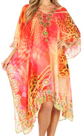 Sakkas Kristy Long Tall Lightweight Caftan Dress / Cover Up With V-Neck Jewels#color_Orange Multi