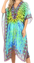 Sakkas Kristy Long Tall Lightweight Caftan Dress / Cover Up With V-Neck Jewels#color_Green Multi