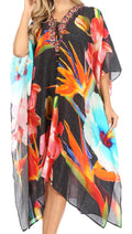 Sakkas Kristy Long Tall Lightweight Caftan Dress / Cover Up With V-Neck Jewels#color_Black Multi
