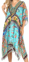 Sakkas Kristy Long Tall Lightweight Caftan Dress / Cover Up With V-Neck Jewels#color_Turquoise