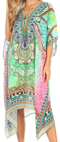 Sakkas Kristy Long Tall Lightweight Caftan Dress / Cover Up With V-Neck Jewels#color_WM202-multi
