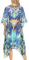 Sakkas Kristy Long Tall Lightweight Caftan Dress / Cover Up With V-Neck Jewels#color_Blue