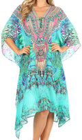 Sakkas Kristy Long Tall Lightweight Caftan Dress / Cover Up With V-Neck Jewels#color_etu227-turq