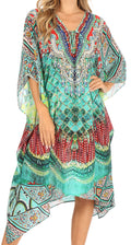 Sakkas Kristy Long Tall Lightweight Caftan Dress / Cover Up With V-Neck Jewels#color_fom223-multi