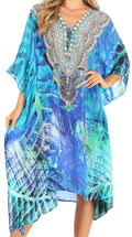 Sakkas Kristy Long Tall Lightweight Caftan Dress / Cover Up With V-Neck Jewels#color_lvb235-blue