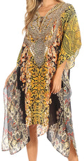 Sakkas Kristy Long Tall Lightweight Caftan Dress / Cover Up With V-Neck Jewels#color_orbk233-black