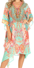 Sakkas Kristy Long Tall Lightweight Caftan Dress / Cover Up With V-Neck Jewels#color_ortu230-turq