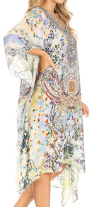 Sakkas Kristy Long Tall Lightweight Caftan Dress / Cover Up With V-Neck Jewels