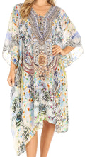 Sakkas Kristy Long Tall Lightweight Caftan Dress / Cover Up With V-Neck Jewels#color_orw234-white