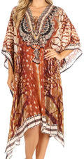Sakkas Kristy Long Tall Lightweight Caftan Dress / Cover Up With V-Neck Jewels#color_sbr123-brown