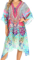 Sakkas Kristy Long Tall Lightweight Caftan Dress / Cover Up With V-Neck Jewels#color_SM224-multi