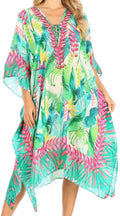 Sakkas Kristy Long Tall Lightweight Caftan Dress / Cover Up With V-Neck Jewels#color_tlg228-green