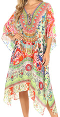 Sakkas Kristy Long Tall Lightweight Caftan Dress / Cover Up With V-Neck Jewels#color_tm208-multi