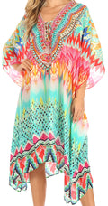 Sakkas Kristy Long Tall Lightweight Caftan Dress / Cover Up With V-Neck Jewels#color_trm231-multi