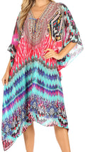 Sakkas Kristy Long Tall Lightweight Caftan Dress / Cover Up With V-Neck Jewels#color_um232-multi
