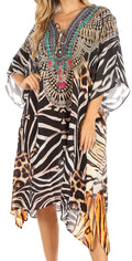 Sakkas Kristy Long Tall Lightweight Caftan Dress / Cover Up With V-Neck Jewels#color_ZBK229-Black