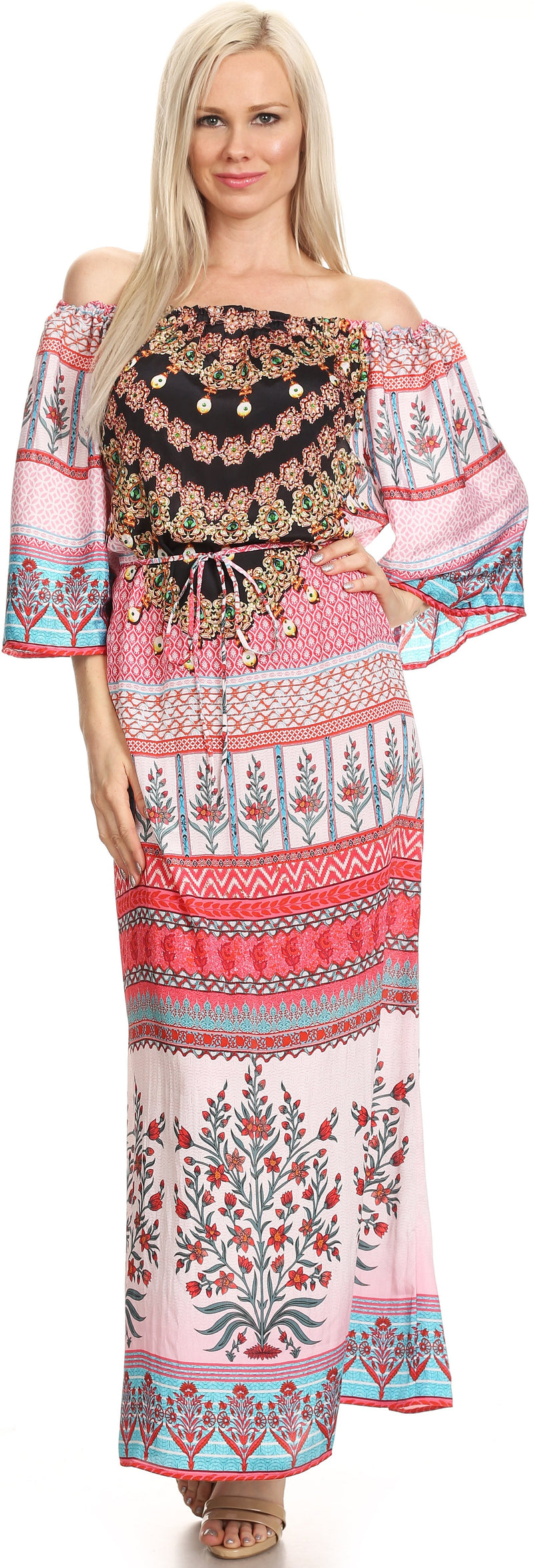 Sakkas Efiya Long Printed Kaftan Off The Shoulder Ruffled Tie-Waist Maxi Dress