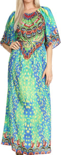 Sakkas Efiya Long Printed Kaftan Off The Shoulder Ruffled Tie-Waist Maxi Dress#color_17035-Green / Blue