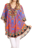 Sakkas Tallulah Wide Circle Blouse V Neck Top With Tassle Ties And Rhinestones