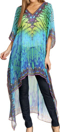 Sakkas Zeke Hi Low V-Neck Caftan Dress Printed Top Cover / Up #color_Turquoise / Yellow