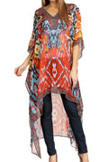 Sakkas Zeke Hi Low V-Neck Caftan Dress Printed Top Cover / Up #color_Orange Multi