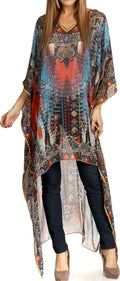 Sakkas Zeke Hi Low V-Neck Caftan Dress Printed Top Cover / Up #color_Blue / Red