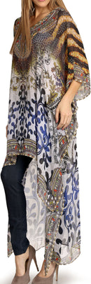 Sakkas Zeke Hi Low V-Neck Caftan Dress Printed Top Cover / Up