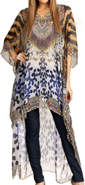 Sakkas Zeke Hi Low V-Neck Caftan Dress Printed Top Cover / Up #color_Blue / Brown