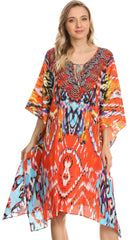 Sakkas Jenni Printed Caftan Dress / Cover Up With Adjustable Neck / Rhinestones